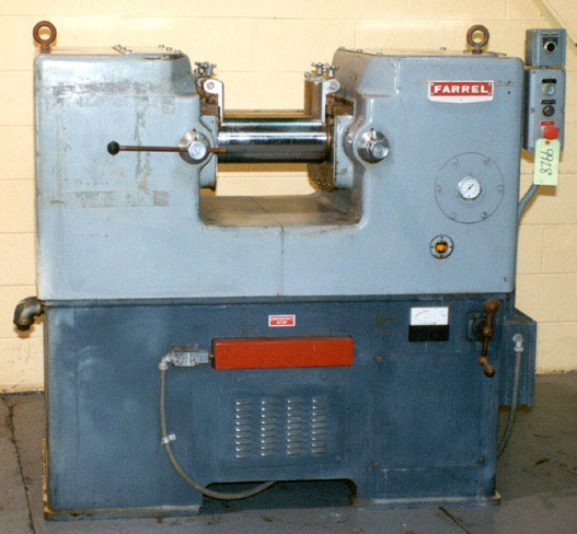 MIXING MILL #6FF350, 2-1/2 Lbs Batch, (2) 6 x 13 Cored Rolls, 7-1/2 HP