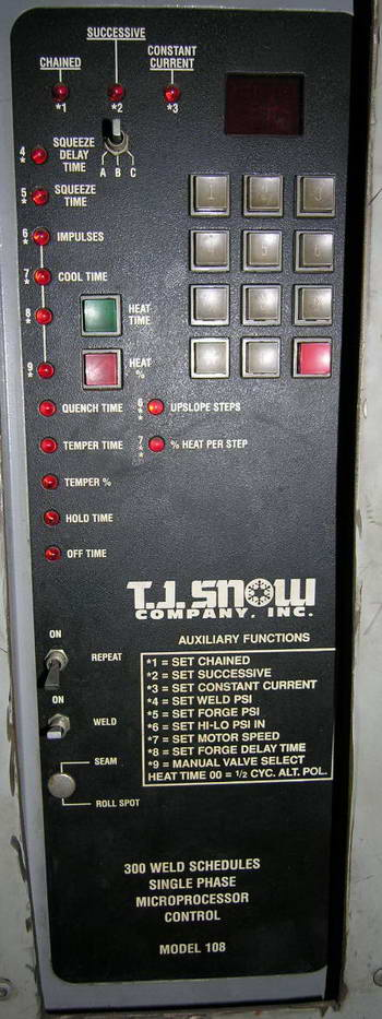 150 KVA T.J. SNOW Resistance Welder, Single Phase Microprocessor Ctrl