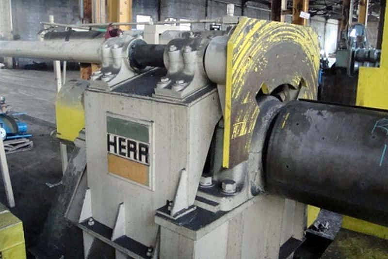 10,000 Lb HERR Recoiler, 20 Dia x 60 Face Drum, Hyd Drum & Push-Off, 100 HP
