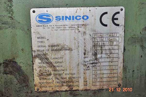 3.58 SINICO Sin-O-Matic TR90/2-350 Cut-Off & End Finisher, 13.5 Cut, (2) Avail