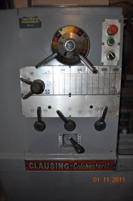 17 x 120 cc CLAUSING Engine Lathe, 3 Spdl Hole, Inch/Metric, 3 & 4-Jaw Chuck
