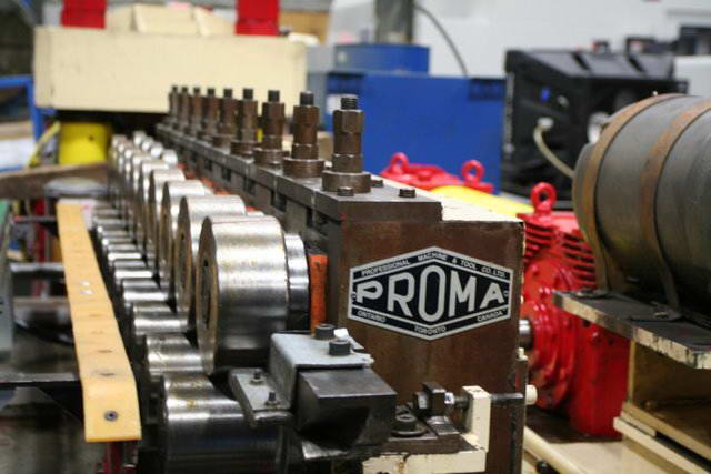 9-Stand PROMA Roll Former, 1-3/4 Spdl, 3.062 /4.687 RS, 8 H, 4.5 - 5.5 V