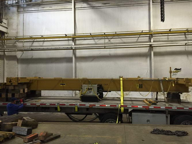 10 Ton P & H Under Running Bridge Crane, 26'5-1/2 Span, 30' Lift, Pendant