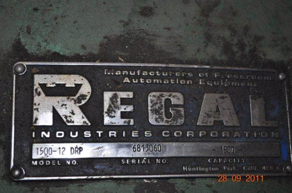 1500 Lb. REGAL MODEL 1500-12-DRP DOUBLE END UNCOILER,