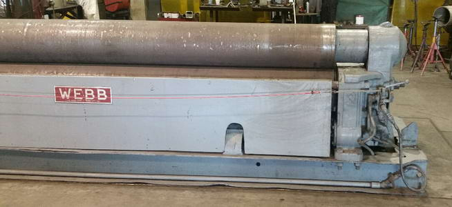 12' x 1/2 WEBB 9L Initial Pinch Plate Roll, Air Drop End, 25 HP