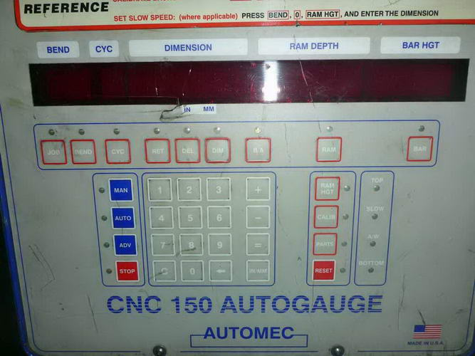 60 Ton ACCURPRESS Press Brake, 72 OA Bed Length, Automec CNC 150 Autogauge