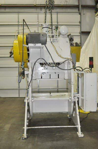 60 Ton JOHNSON Double Crank OBI Press, 4 Str, 15 SH, 56 x 22 Bed, 100 SPM