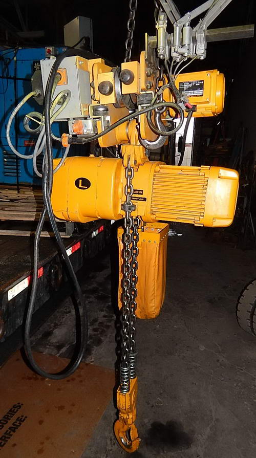 5 Ton HARRINGTON Hoist, Pendant/Remote Controls, 12/4 FPM Lift, 2-Speed Trolley