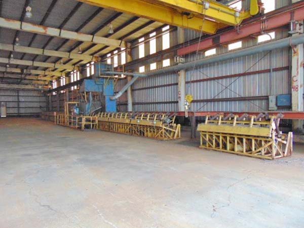Pass Thru, PANGBORN Pipe & Structural Blast Cleaning Line, 2 Direct Drive Wheels