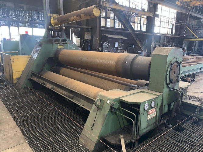 12' x 1-1/2 HAUSLER Plate Bending Roll, 4-Roll, Air Drop End, 150 HP